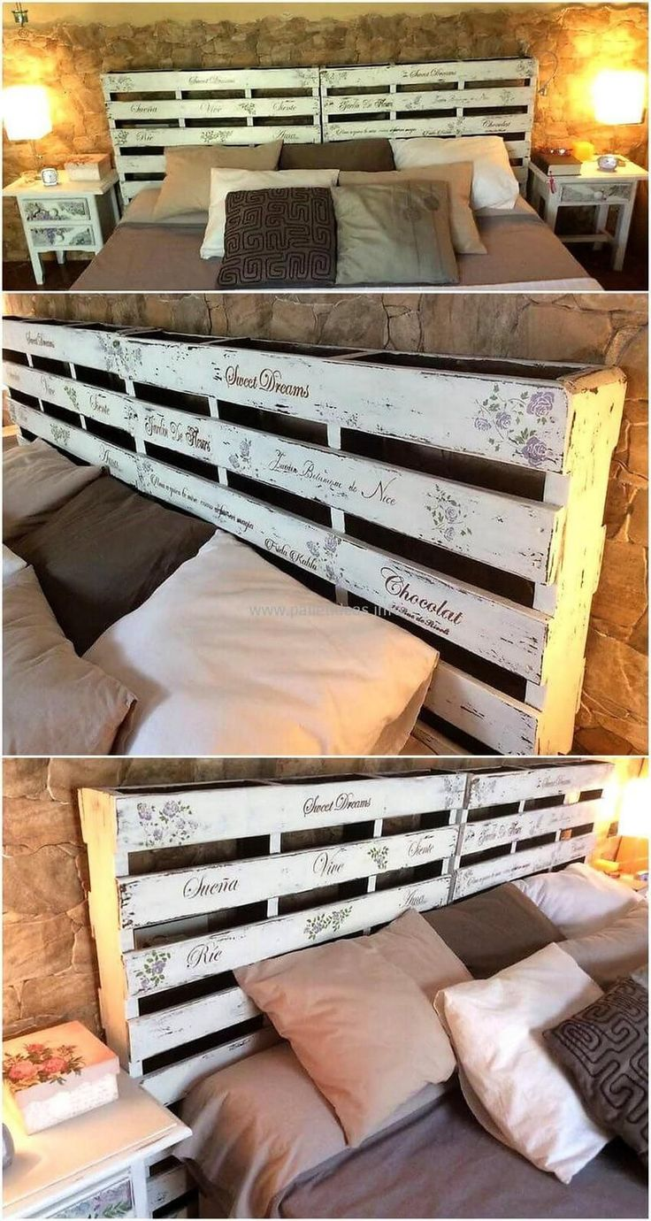Having the placement of an attractive classic wooden pallet bed with headboard always appears a great way to meet your bedding needs with it. Choose this classic design of wooden bed for the renovation of your bedroom as according to latest furniture trends.  #pallets #woodpallet #palletfurniture #palletproject #palletideas #recycle #recycledpallet #reclaimed #repurposed #reused #restore #upcycle #diy #palletart #pallet #recycling #upcycling #refurnish #recycled #woodwork #woodworking