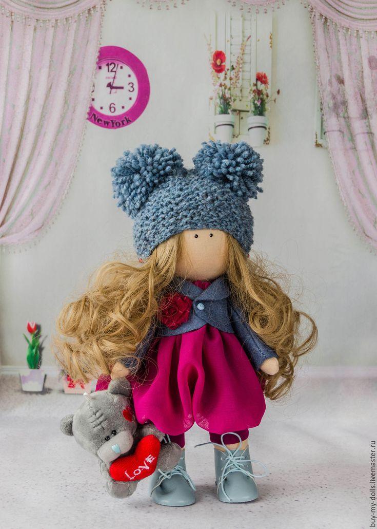 Купить Малиновая кукла-тыквоголовка ручной работы - комбинированный, мятный, зефирный, кукла, интерьерная кукла