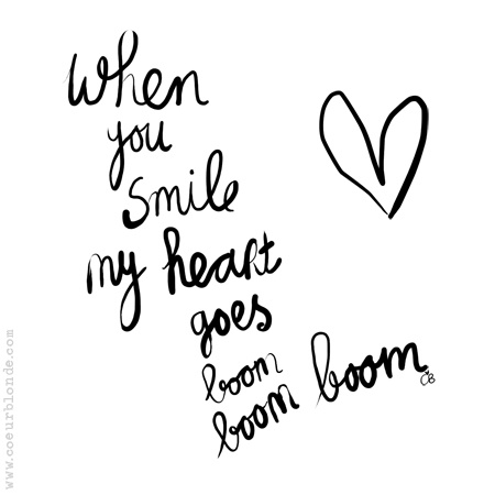 When you smile my heart goes boom boom boom <3