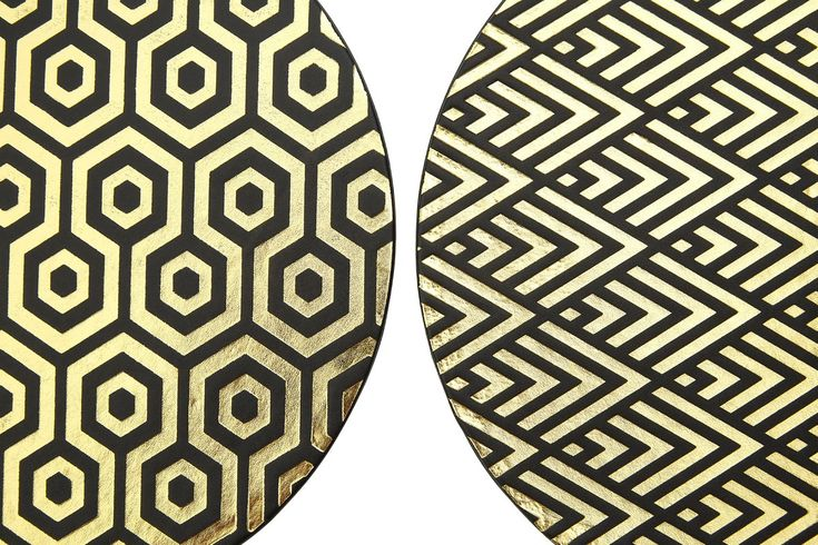 Round Leather Effect Placemat Gold Pattern Leather Gifts