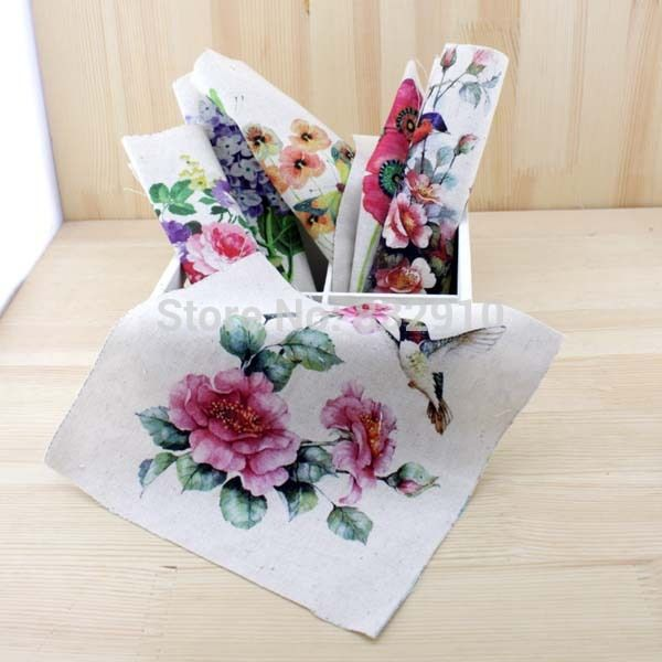 Hand dyed 6 Assorted Cotton Linen Printed Quilt Fabric For DIY Sewing Patchwork Home Textile Decor 20x20cm birds and flowers #Affiliate