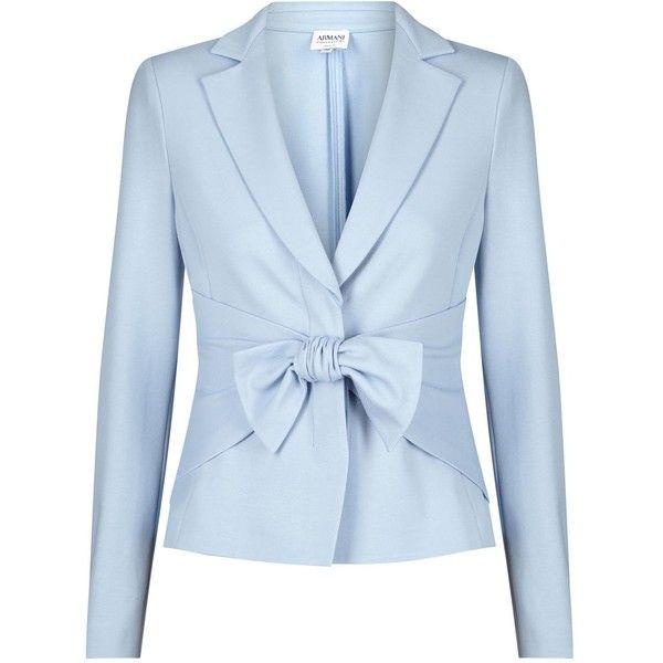 Armani Collezioni Light Blue Bow Embellished Blazer (16.180 RUB) ❤ liked on Polyvore