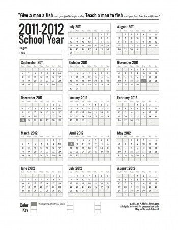 11/12 School Calender - overview of the whole academic yr.  Highlight holidays and vacation days...