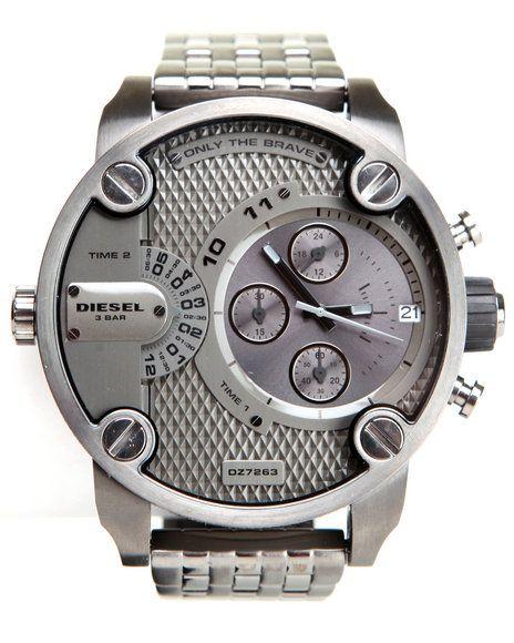 Diesel Men Unisex Little Daddy Gun Metal 51Mm Face W / Bracelet Link Silver