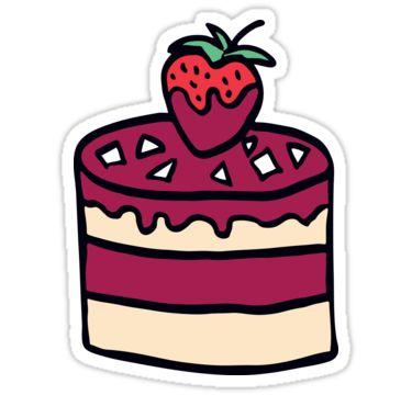 Cake with strawberry. Cartoon illustration. by kakapostudio