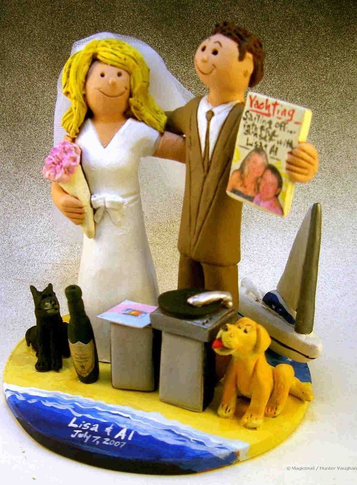Custom wedding cake topper for a DJ getting married on a beach   by http:blog.magicmud.com  $235  magicmud@magicmud.com  1 800 231 9814  https://www.facebook.com/PersonalizedWeddingCakeToppers  https://twitter.com/caketoppers  #beach#DJ#disc_jockey#wedding #cake #toppers  #custom #personalized #Groom #bride #anniversary #birthday#weddingcaketoppers#cake toppers#figurine#gift#wedding cake toppers