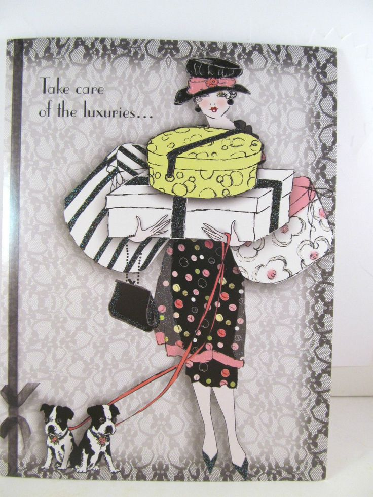 Pink & Lace Glam Frou Frou Greeting Birthday Card Take Care Of The Luxuries