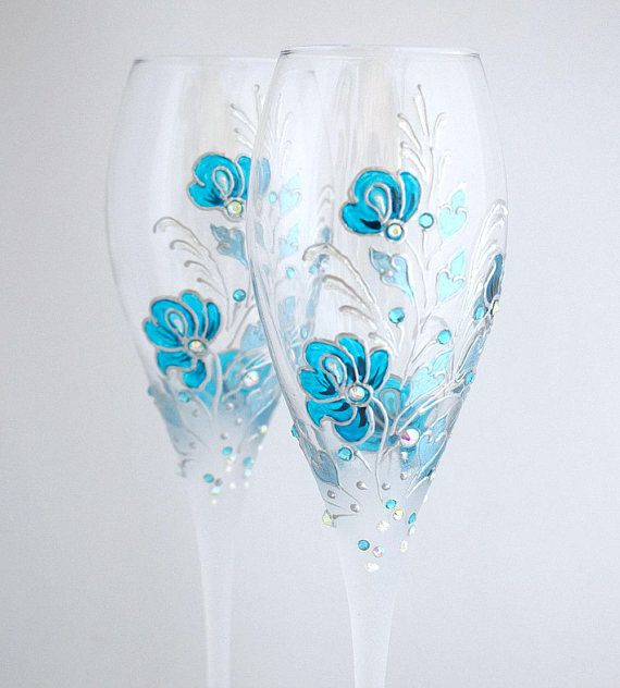 Wedding toasting glasses, Personalized Champagne glasses, Blue and silver glasses, Wedding flutes set, Hand painted glasses, Wedding gift Set of 2 Wedding champagne glasses, hand painted with an original floral design - stylized flowers in saturated blue color and leaves in