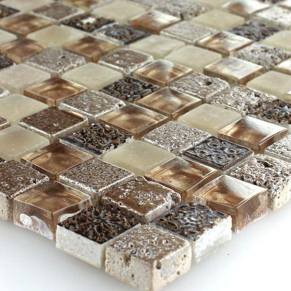 Glas Kalkstein Marmor Mosaik Fliesen Braun Beige Mix 15x15x8mm EUR 11,60 zzgl. 4,90 Versand sieht au großer Fläche nicht so doll aus