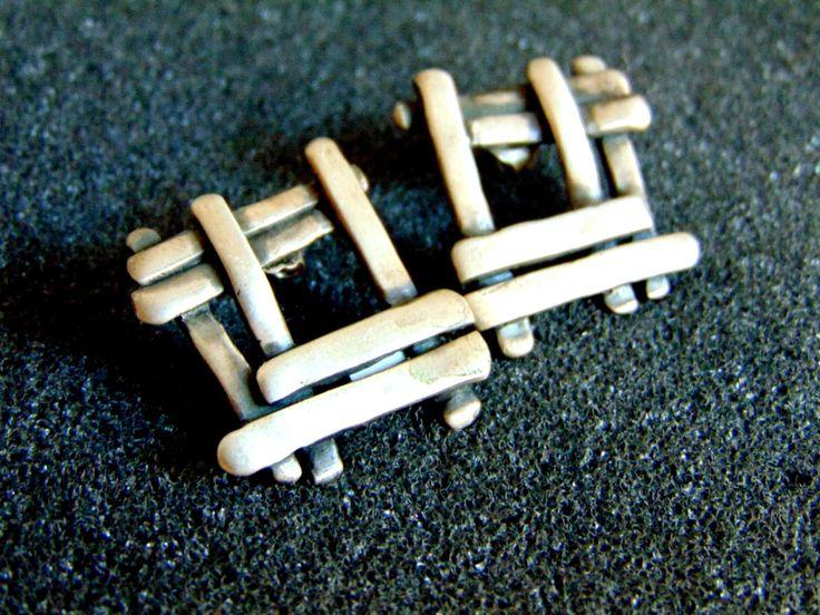 Beautiful sterling silver geometric earrings-Womens silver 925 screw back earrings-Unusual women's earrings-Artisan jewelry-Greek art by ArchipelagosBreeze on Etsy