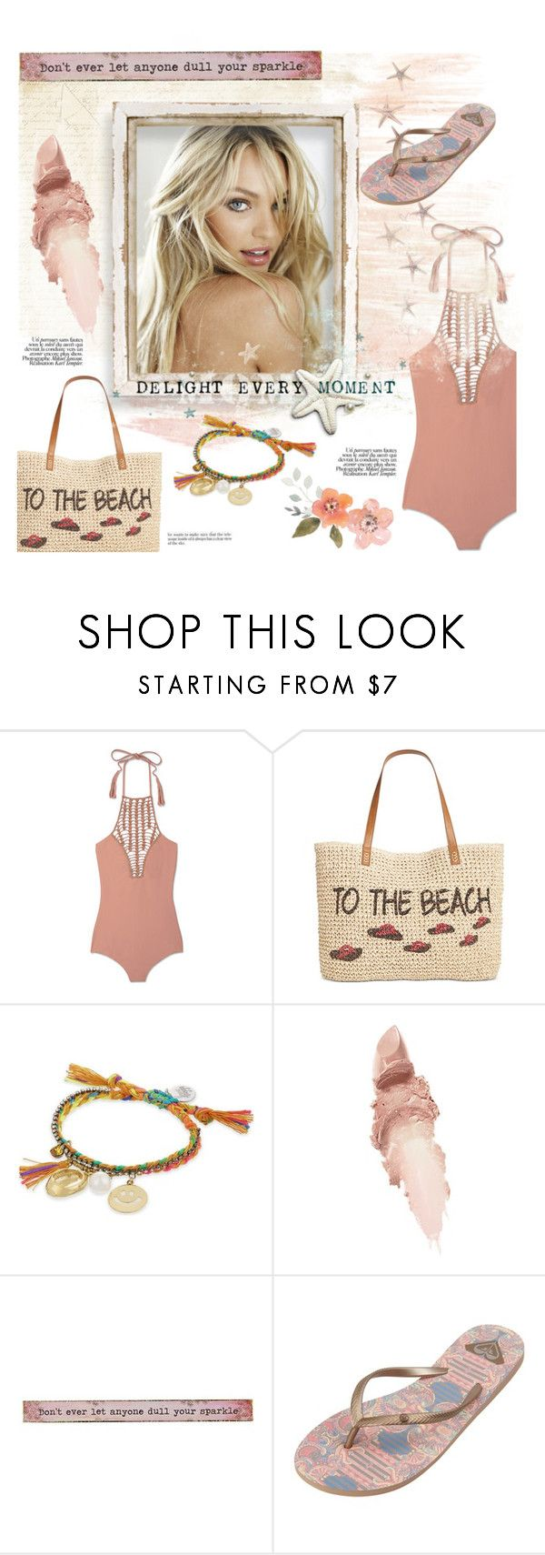 """""""Swimsuit"""" by lipservicebymel ❤ liked on Polyvore featuring Acacia Swimwear, Style & Co., Venessa Arizaga, Maybelline, Natural Life and Roxy"""