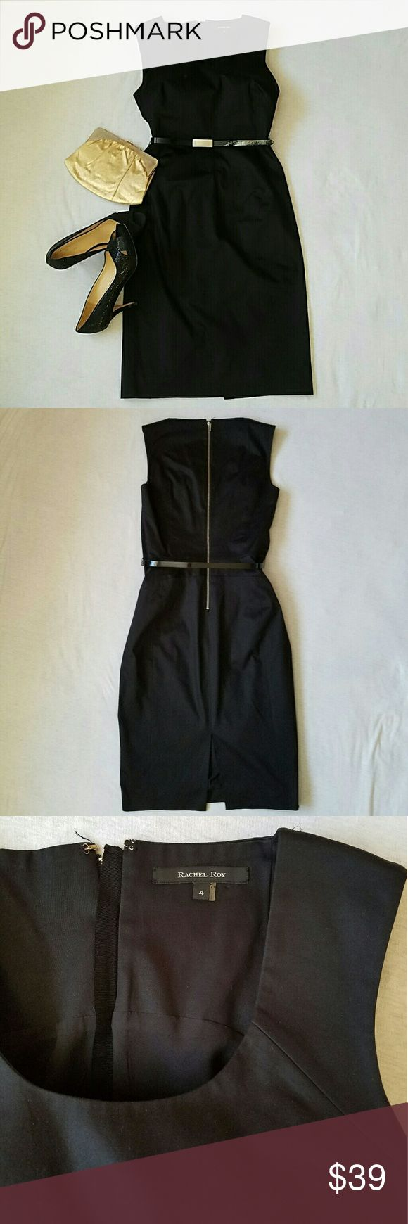 """Rachel Roy LBD  black dress size 4 New without tag.  Beautiful sleeveless dress with a scoop neck. There are a few small scratches on the belt buckle  (see picture), no other flaws. The dress has a silver colored back zipper and a shiny black belt with the initials """"RR"""" on the buckle.  Material has a slight stretch, 98% cotton, 2% spandex. Total length ca. 40.5 inches, skirt length ca. 24.75 inches, waist ca 28 inches, chest armpit to armpit ca. 17 inches. Rachel Roy Dresses"""