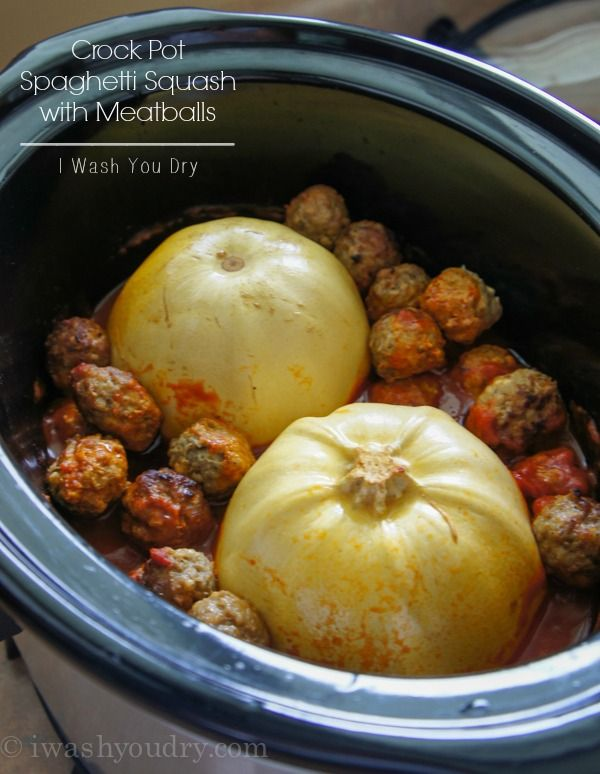 Super Easy Crock Pot Spaghetti Squash with Meatballs! Just three ingredients, 3 hours, and the best squash I have ever tasted!!