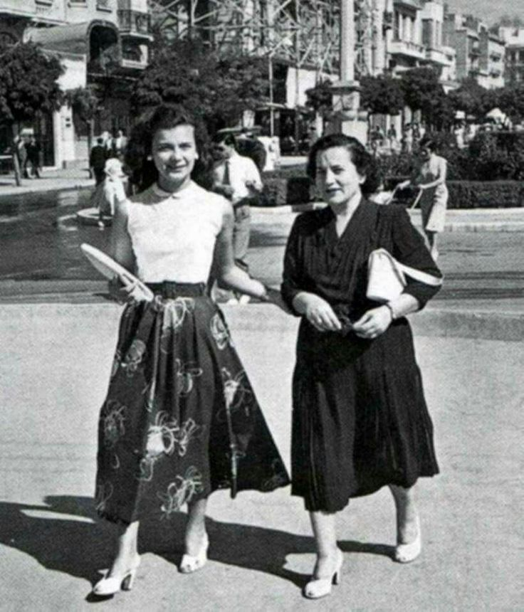 1950's ~ Actress Tzeni Karezi with her mom in Kolonaki, Athens