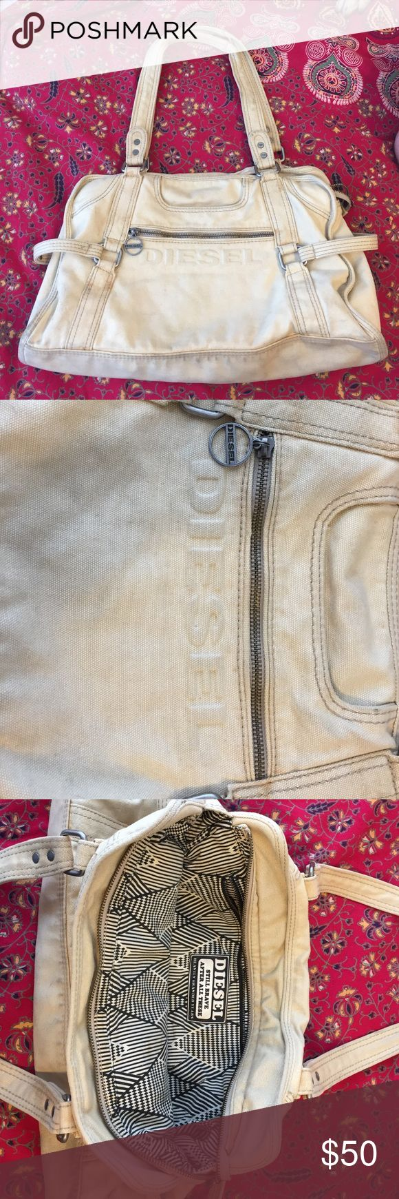 Diesel Large Purse This tan Diesel purse is large enough to carry all your daily necessities or take on a trip. It is in good condition, has tons or pockets and is a tan, neutral color that goes with anything! Diesel Bags Shoulder Bags