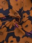 Fabric Mart :: Fabrics P-Z :: Silk :: Caramel/Navy/Hot Pink Retro Floral Print Stretch Novelty Silk Twill 44W