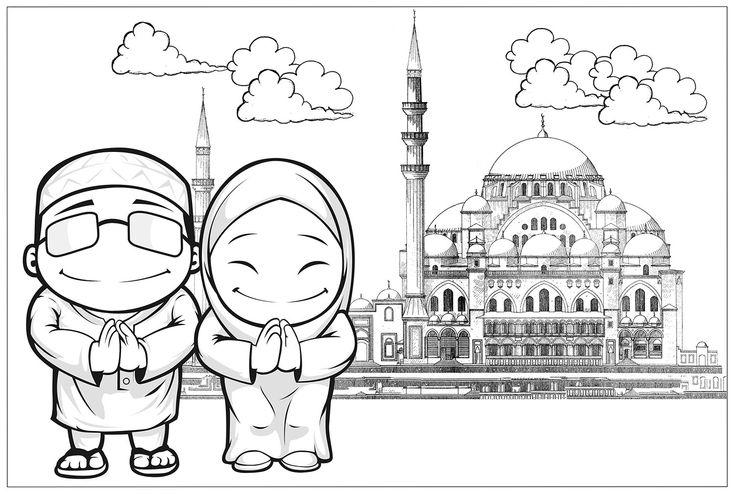 10 Mewarnai Gambar Islami Coloring Pages Poster Selamat Hari Raya