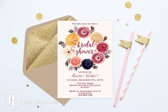 Printable Bridal Shower Invitation, Marsala Watercolor Floral, Bohemian Floral Style, Hens Party, Kitchen Tea, DIY Printable Invitations