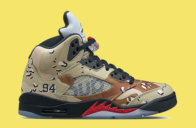 a5b2f7d351b0fe Supreme x Air Jordan 5 Desert Camo Bamboo and Black-Classic Stone For Sale