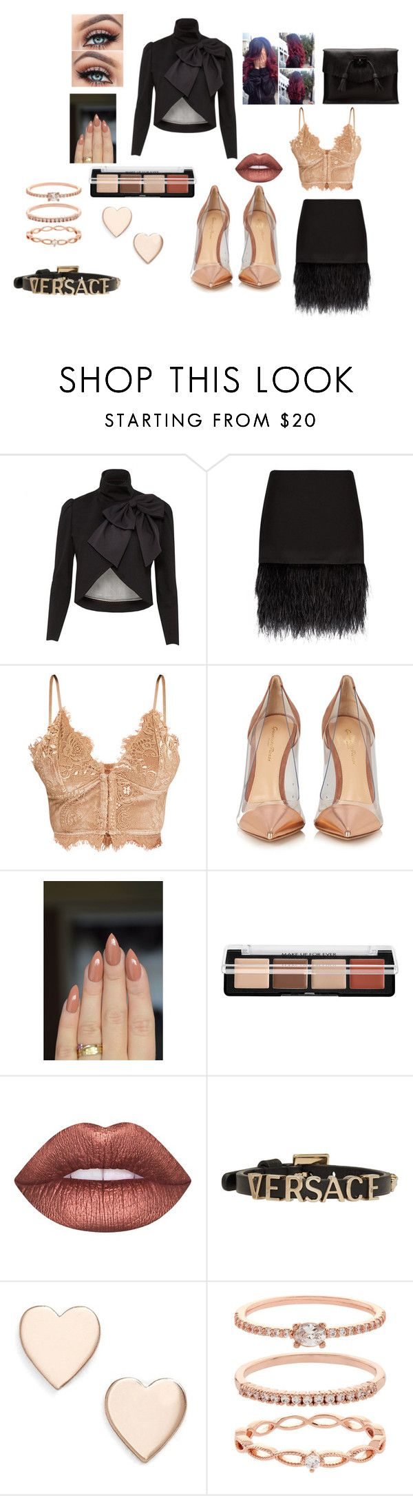 """""""around town"""" by usagi1215 on Polyvore featuring Alice + Olivia, Polo Ralph Lauren, Gianvito Rossi, MAKE UP FOR EVER, Lime Crime, Versace, Poppy Finch, Accessorize and Dr. Martens"""
