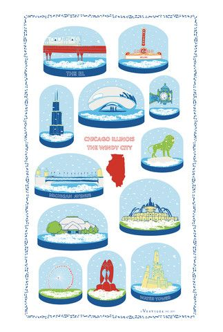 #Chicago Snow Globe Kitchen Towel – Vestiges. A fan told us she gave this #towel along with a Vienna Beef hot dog kit to her son away at college.