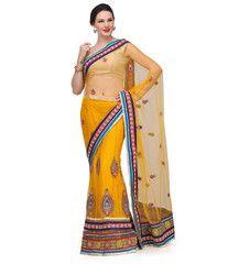 Yellow Net Lehenga Style Saree | Fabroop USA | $55.00 |