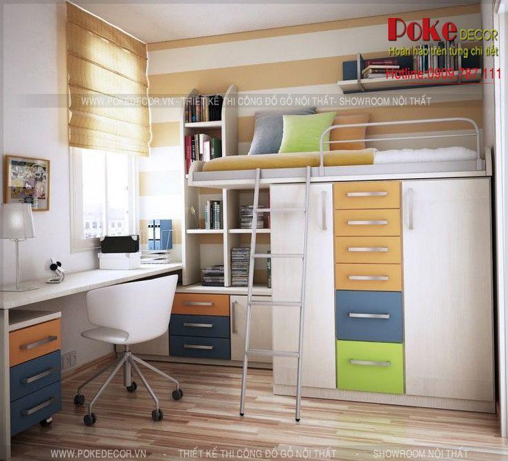 ột ý tưởng độc đáo giúp tiết kiệm tối đa không gian với giường-tủ-kệ kết hợp thật đẹp mắt, mọi thứ của bạn sẽ được sắp xếp một cách gọn gàng nhất, từ quần áo, vật dụng, sách vở, đồ dùng cá nhân. Một không gian được bố trí khoa học và đẹp mắt.