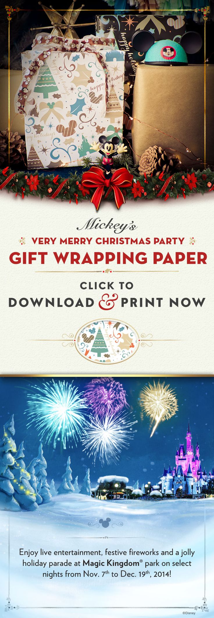 Click to download this DIY Mickey's Very Merry Christmas Party Holiday Wrapping Paper!