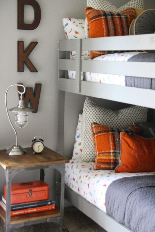 orange plaid. pillows. boys room.