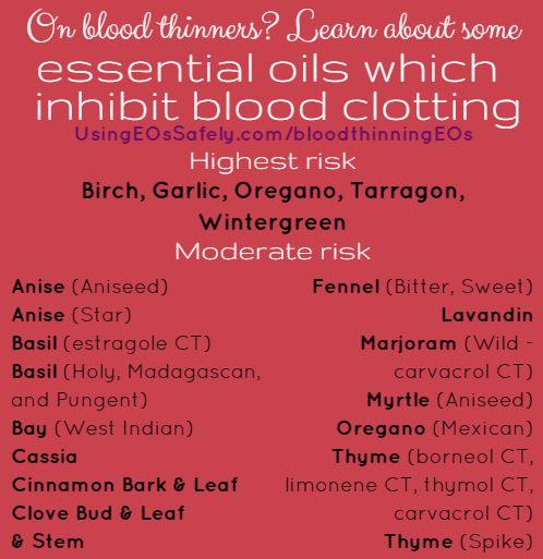Essential oils which inhibit blood clotting http://www.usingeossafely.com/bloodthinningEOs