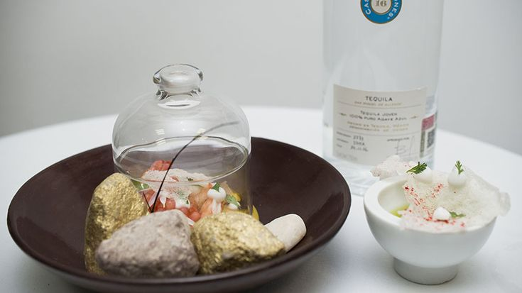 Chef Martha Ortiz created a pairing dish of shrimp and amberjack ceviche with Tequila Casa Dragones Joven.