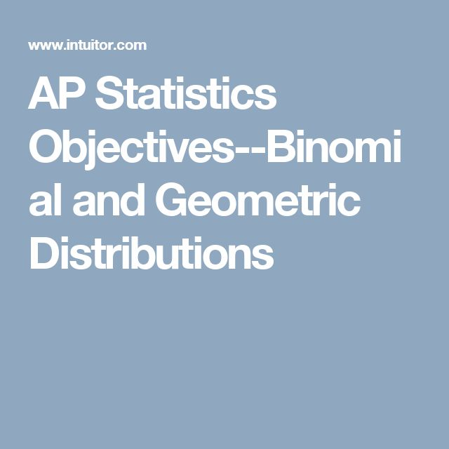 AP Statistics Objectives--Binomial and Geometric Distributions