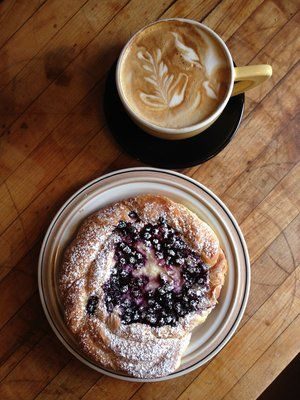 GoodLife Bakery Seasonal Huckleberry Danish and a Cappuccino.