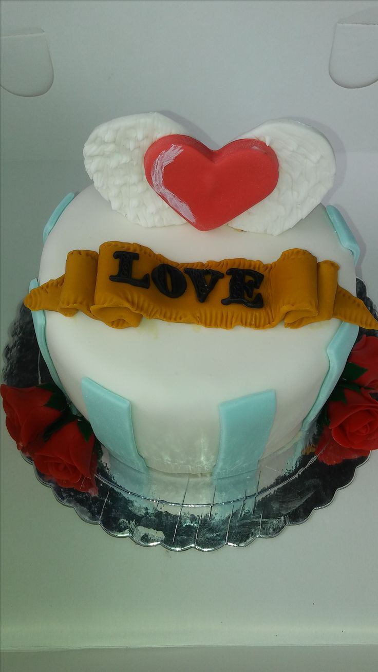 love cake, valentine´s cake, torta corazon con alas para San Valentin