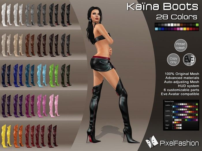 :)(: Kaina Boots Mesh- All Colors- Fitted Mesh  - Classic Avatars + Eve Avatars compatible