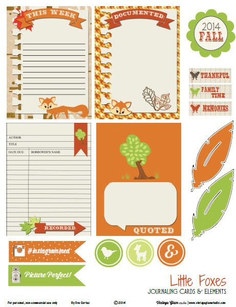 Free Little Foxes Journaling Cards and Labels from Vintage Glam Studio