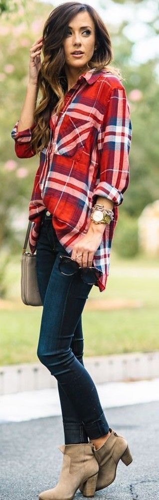 Plaid Shirt + Denim                                                                             Source