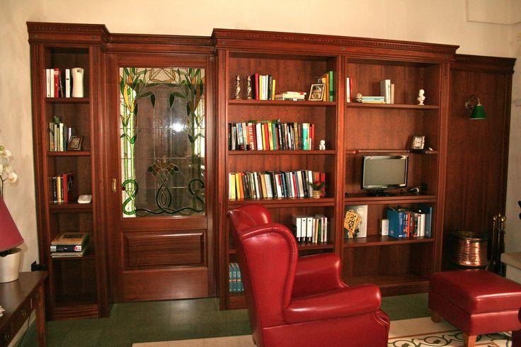 Porta scorrevole - libreria   legno:mogano sapeli