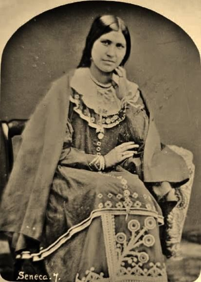 Ga-ha-no (aka Caroline G. Parker-Mt. Pleasant) the daughter of William and Elizabeth Parker, and the wife of the Tuscarora man known as John Mt. Pleasant - Iroquois (Seneca) - 1860  {Note: Caroline G. Parker-Mt. Pleasant was the sister of Donehogawa (aka Ely Samuel Parker).}