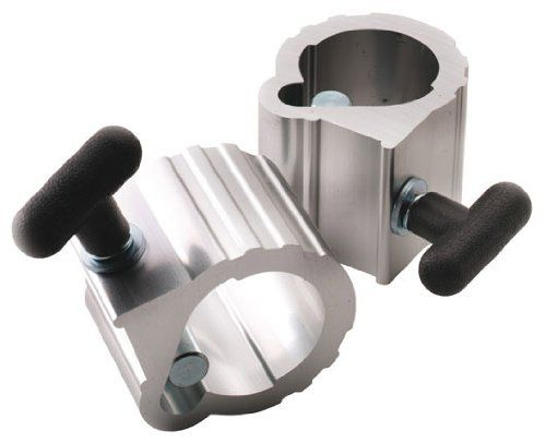 Hampton Bulldog Power Clamp Collars - 2 Inch (Pair). Includes One PAIR of collars. Fits all 2 inch diameter Olympic bar sleeves. Made of heavy duty extruded aluminum. Strong and durable for any commercial setting. Improves safety - no pinched fingers. Color: Silver with Black T-handle. Weight: 1.25 lbs each collar (2.5 lbs total for pair).