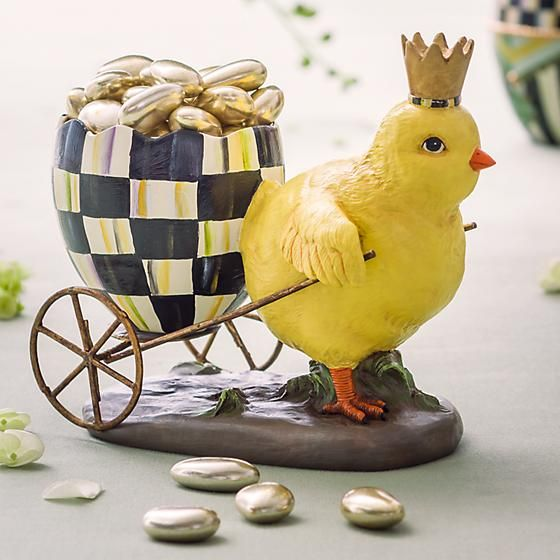 Which Came First?: We may never know the answer, but our Which Came First? accent is an adorable interpretation that sure makes it fun to ask the question. A charming, crowned chick pulls a delightful Courtly Check® Easter egg buggy in this charming seasonal accent.