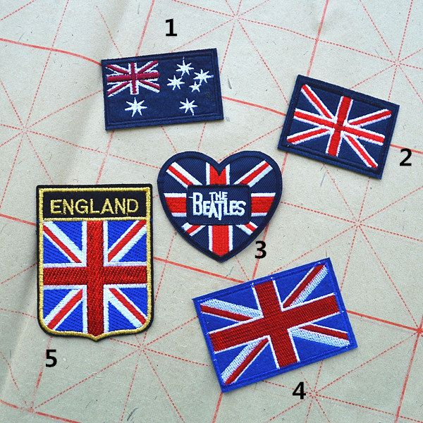 New to craftapplique on Etsy: Union Jack patch United Kingdom flag British flag patch American flag Australian flag patch The Beatles patch iron on patch sew on patch 138 (2.20 USD)