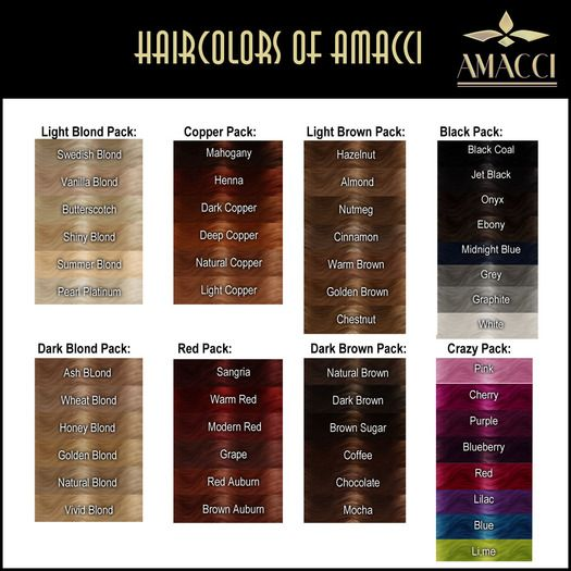"Amacci - Hair Color Chart.  Because choosing the perfect word to describe a hair color is hard.  ""Say this, that she was dark haired.  There.""  (Rothfuss, NotW, 420)."