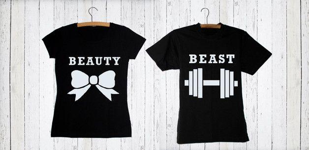 T-shirty 2 SZTUKI dla ZAKOCHANYCH BEAUTY BEAST - high-for-this - Koszulki z napisami #dawandawalentynki