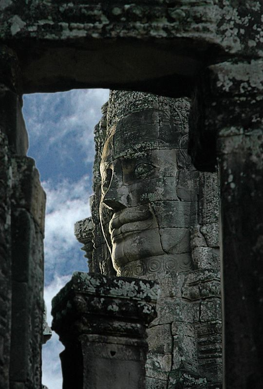 Bayon Temple in the ancient city of Angkor Thom inside the Angkor Wat Park in Cambodia