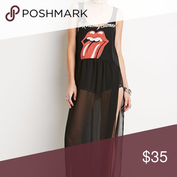 "XXI FOREVER 21 The Rolling Stones maxi sheer dress Best features of a concert tour tee in a more coolly contemporary design, this combo maxi dress is made for the modern music lover with a classic aesthetic. Bodice is raw-cut like a muscle tee & printed with ""The Rolling Stones"" above the band's logo in front and a varsity-style ""Stones 62"" in back. Made to layer thanks to a sheer skirt with high side slits. Cotton & Polyester  Flaws *Small hole in sheer material at front right near the…"