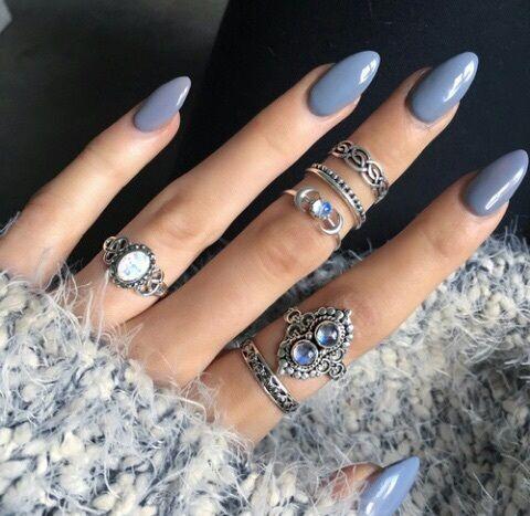 almond, blue, grey, nails, shape