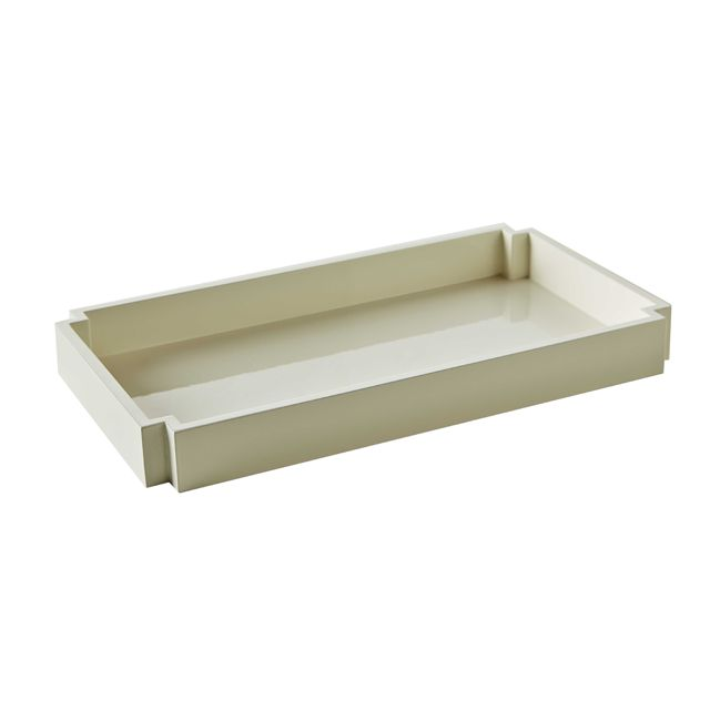 White Lacquer Tray - Nothing makes those baby lotions and creams look better then a chic tray. #PNshop: Nurseries Decor, Neat Products, Lacquer Trays, Deco Trays, Baby Lotions, Chic Trays, Studios Couch, Garbo Trays,  Day Beds