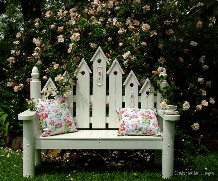My Birdhouse Chair in front of Albertine Rose.