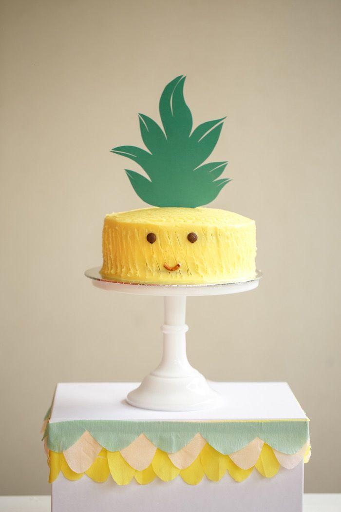 Pineapple Cake from a Tutti Frutti Birthday Party via Kara's Party Ideas   KarasPartyIdeas.com (37)